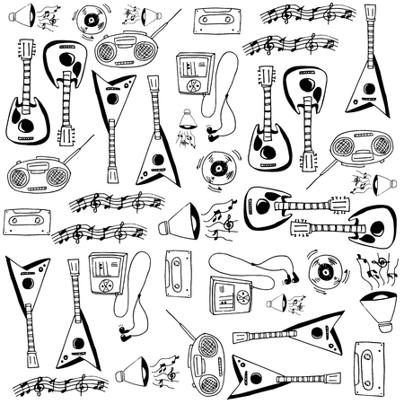 Doodle with hand draw music set vector illustration