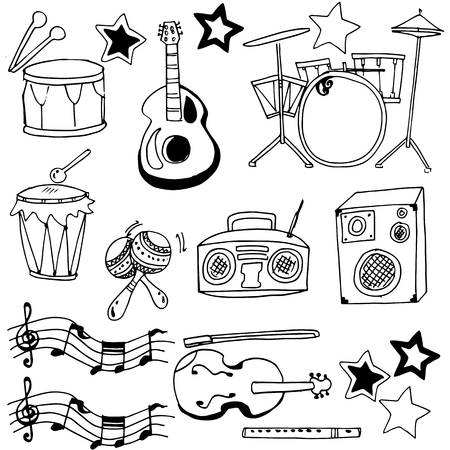 Doodle oof hand draw music set vector art