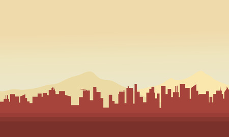 building silhouette: Silhouette of big city scenery at morning Illustration