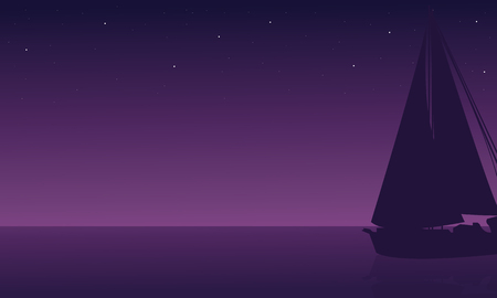 Silhouette of ship in sea at the night scenery Illustration