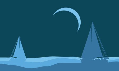 Silhouette of beautiful ship scenery vector illustration