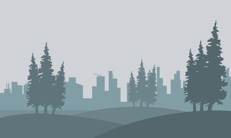 Silhouette of spruce and city in fog landscape illustration