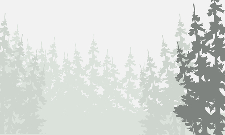 Silhouette of spruce forest backgrounds vector illustration Banco de Imagens - 60836073