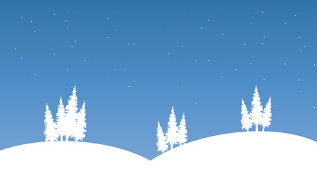 winter scenery: Silhouette of hill on winter scenery vector illustration