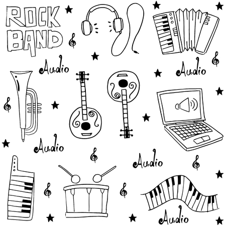 Music element doodles pack hand draw