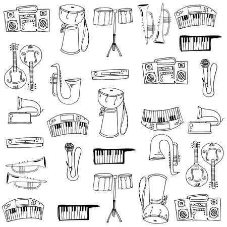 Music object pack doodles on white backgrounds