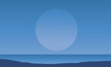 big scenery: Silhouette of seaside and big moon scenery illustration Illustration