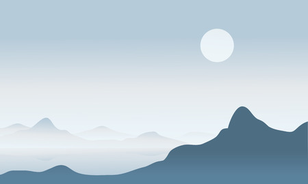 fog: Silhouette of mountain with fog vector illustration