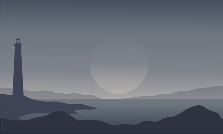 bluff: Silhouette of lighthouse on gray background illustration