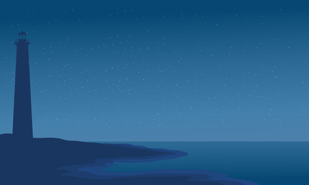 bluff: Silhouette of lighthouse in beach vector illustration