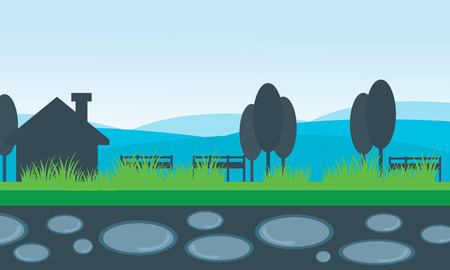 grass isolated: Vector of scenery house and mountain backgrounds collection stock