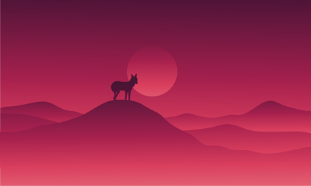 Wolf in hills alone vector illustration scenery