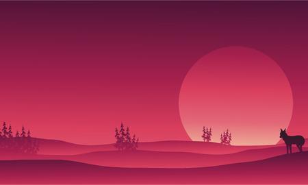 Silhouet van wolf in de vectorillustratie van het heuvelslandschap