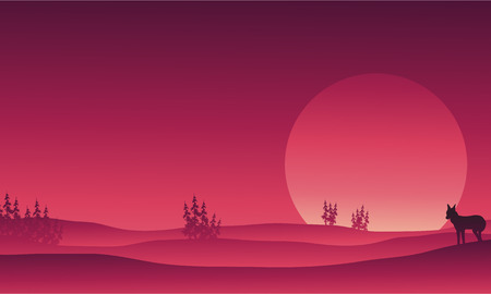 solstice: Silhouette of wolf in hills scenery vector illustration