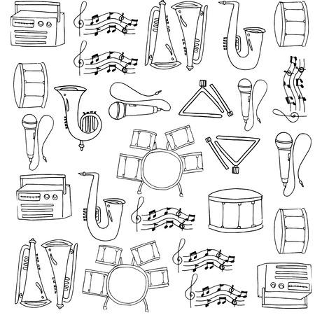 Hand draw doodles of music Ilustração