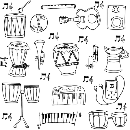 Hand draw stock music doodles