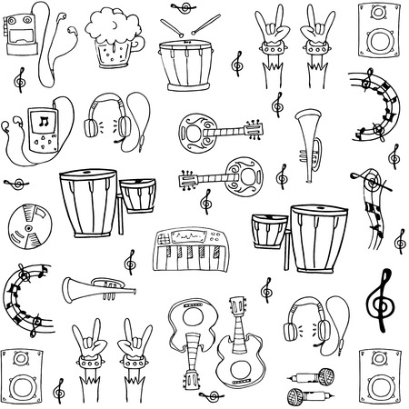 Doodle of music tools stock collection vector art