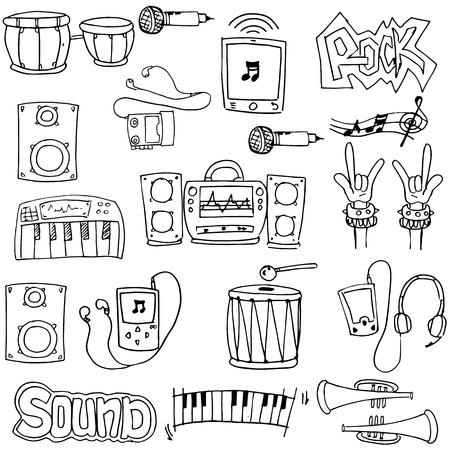 Doodle of music set hand draw Иллюстрация