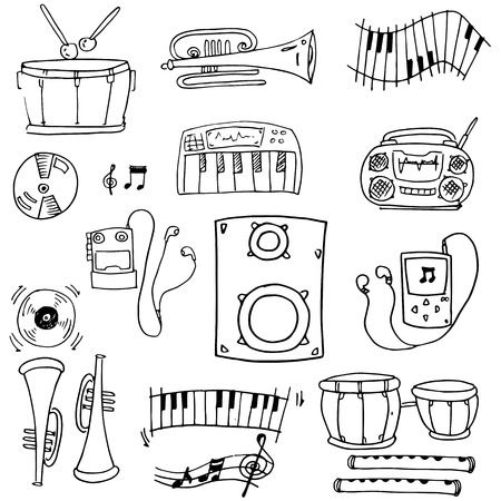 Doodle of object music pack vector art