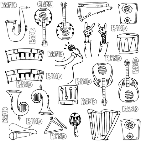 Hand draw object music doodles