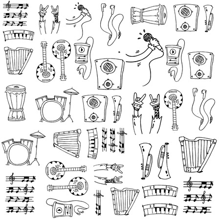 Doodle of hand draw music vector art illustration
