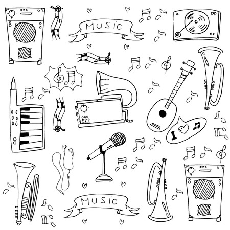 Doodle of music pack stock collection vector art