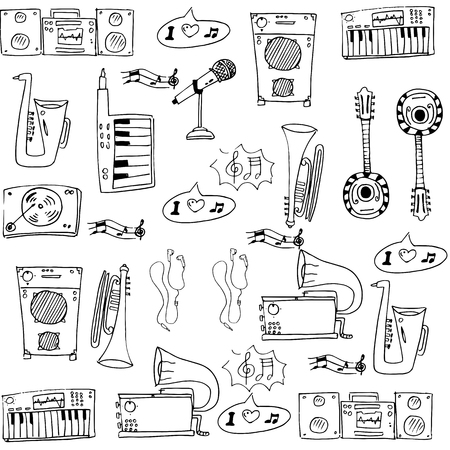 Doodle of music object hand draw Иллюстрация