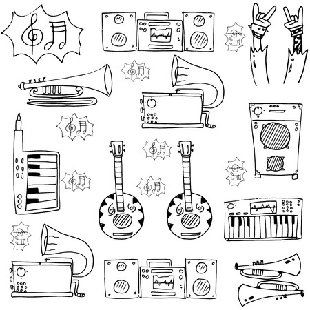 Element music set doodles vector art illustration Иллюстрация