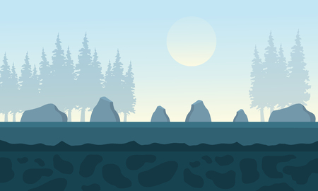 Backgrounds rock and trees vector illustration for game