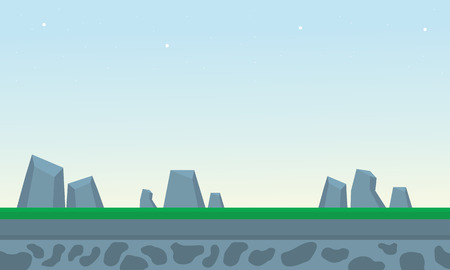 Rock and grass backgrounds game vector art illustration