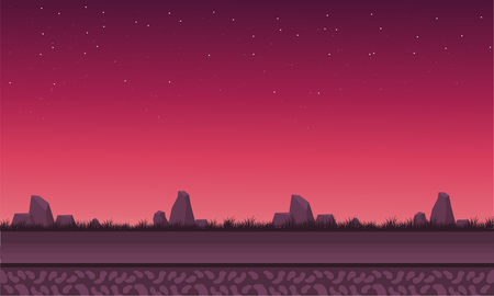 red sky: Landscape rock with red sky vector backgrounds game