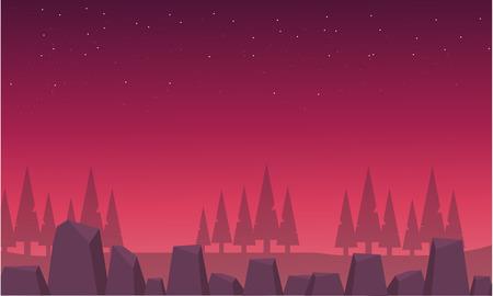 Red skyline landscape spruce and rock vector illustration Иллюстрация