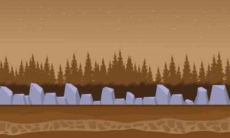 Brown backgrounds rock and spruce landscape vector illustration
