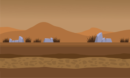 Landscape fields and mountain for backgrounds game vector illustration
