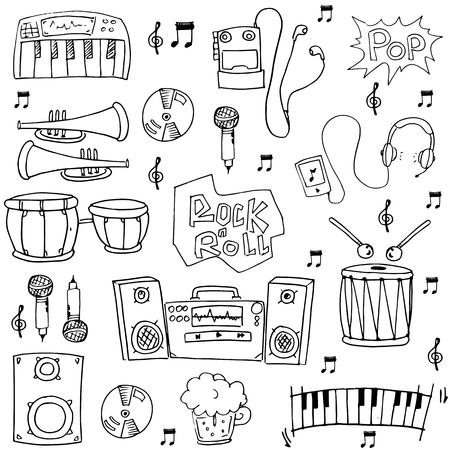 Doodle of Hand draw music element vector illustration Иллюстрация