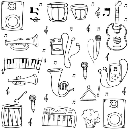 Many element hand draw music theme doodles vector illustration