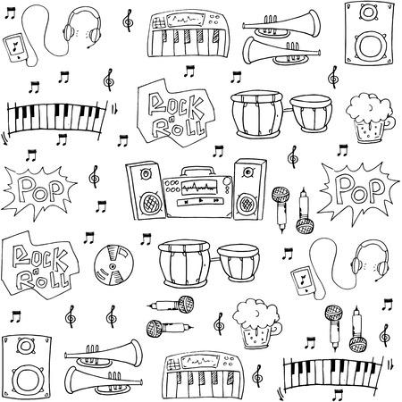 Music hand draw element vector art Иллюстрация