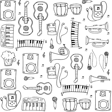 Doodle of object music pack stock collection