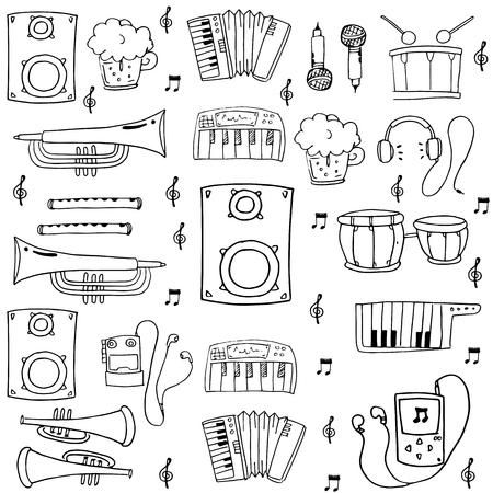 Doodle music set hand draw vector illustration