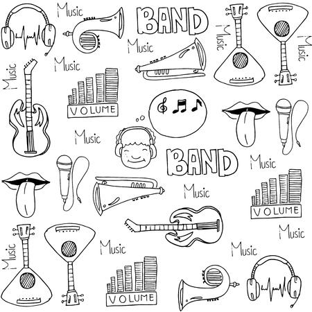 Tools music set doodles vectoor art illustration Иллюстрация