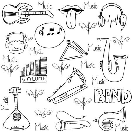 Doodle of music element stock collection