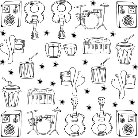 Stock collection music set doodles