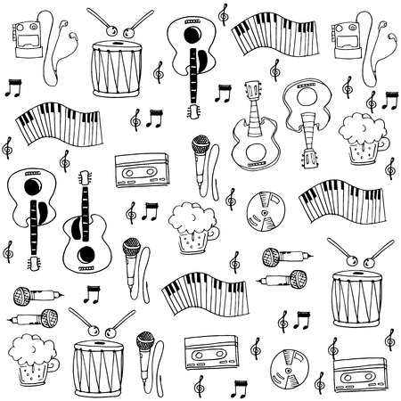 flat music hand draw in doodles