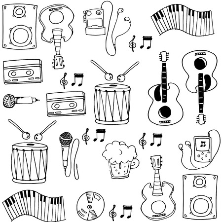 Doodle of hand draw music stock vector illustration