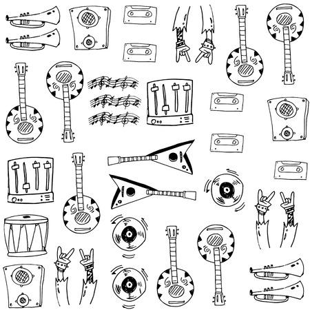 Hand draw music set doodles