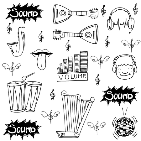 Doodle music set stock collection