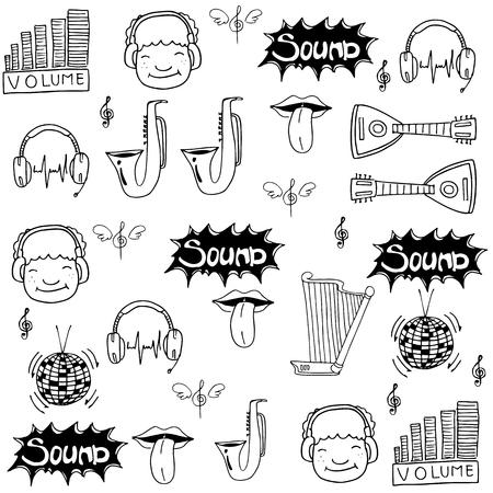 Music doodle set stoock vector art collection