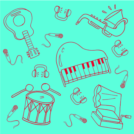 Doodle of hand draw music stock vector art collection