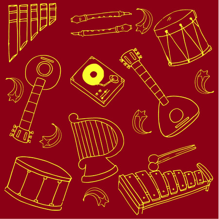 Doodle of red backgrounds music set stock collection