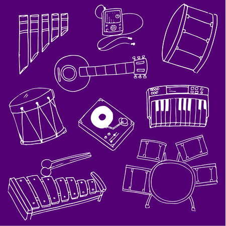 Purple on backgrounds music doodles collection stock